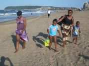 Mrs Nonde & Chlidren On The Beach